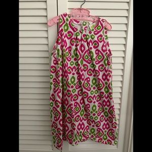 Girls pink and green patterned dress.